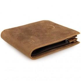 Dompet Kulit  Pria Vintage Oil Wax Cowhide Leather - Brown - 3