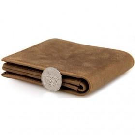 Dompet Kulit  Pria Vintage Oil Wax Cowhide Leather - Brown - 4