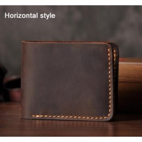 Dompet Pria Bahan Kulit Vintage Wallet Horizontal Style - V107 - Coffee