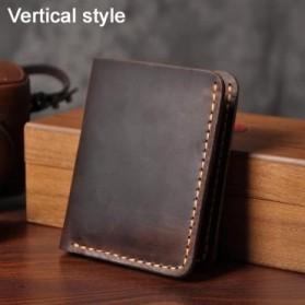 Junnuo Dompet Pria Bahan Kulit Vintage Wallet Vertical Style - V107 - Coffee