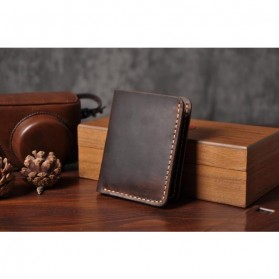 Junnuo Dompet Pria Bahan Kulit Vintage Wallet Vertical Style - V107 - Coffee - 3