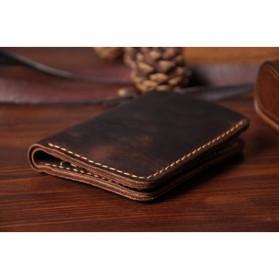Junnuo Dompet Pria Bahan Kulit Vintage Wallet Vertical Style - V107 - Coffee - 4