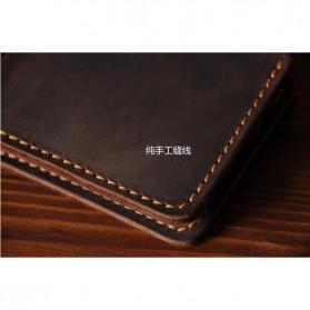 Junnuo Dompet Pria Bahan Kulit Vintage Wallet Vertical Style - V107 - Coffee - 5