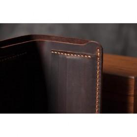 Junnuo Dompet Pria Bahan Kulit Vintage Wallet Vertical Style - V107 - Coffee - 6