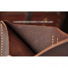 Junnuo Dompet Pria Bahan Kulit Vintage Wallet Vertical Style - V107 - Coffee - 7