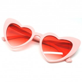 Kacamata Cat Eye Wanita Love Heart - Pink