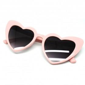 Kacamata Cat Eye Wanita Love Heart - Baby Pink