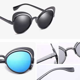 Kacamata Cat Eye Wanita Retro Color - Black/Gray - 2