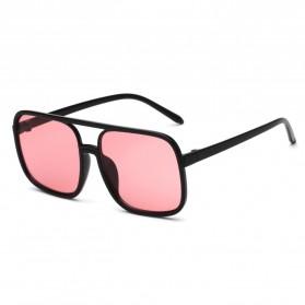 Kacamata Wanita Square Vintage Retro - Black/Pink