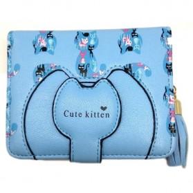 Cute Kitten Dompet Tassel Wanita Motif Kucing - Blue