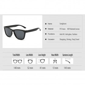 Aoron Kacamata Sunglasses D Shape Polarized - 9821 - Black/Gray - 5