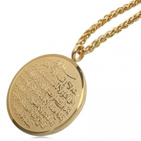 Kalung Medal Stainless Steel Model Ayat Kursi - Golden