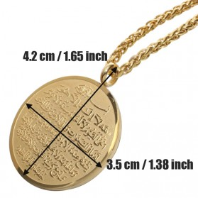 Kalung Medal Stainless Steel Model Ayat Kursi - Golden - 6