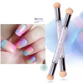 Glitter Kuku dengan Brush Cap Nail Art Tool - White - 2