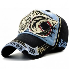 Jamont Topi Baseball Cap Snapback Motif Bordir Shark - G13948 - Blue