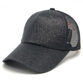 Topi Baseball Glitter Ponytail Cap - BQ126 - Black - 1