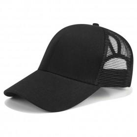 Topi Trucker Baseball Mesh Ponytail Cap - BQ126 - Black