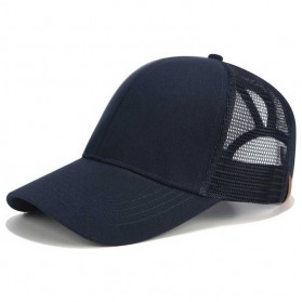 Topi Trucker Baseball Mesh Ponytail Cap - BQ126 - Navy Blue