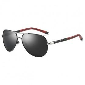 Kacamata Hitam Pria Aluminium Polarized Sunglasses - 8725 - Black/Silver