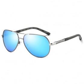 Kacamata Aviator Pria Aluminium Polarized Sunglasses - 8725 - Silver Blue - 1