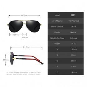 Kacamata Aviator Pria Aluminium Polarized Sunglasses - 8725 - Silver Blue - 2