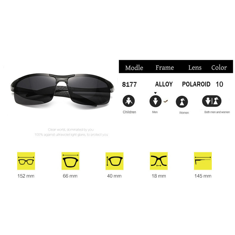 Kacamata Hitam Pria Magnesium Polarized Sunglasses - 8177 - Black - 2 .