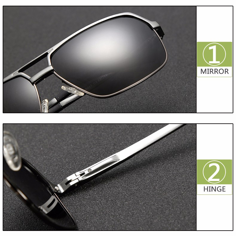 Kacamata Hitam Pria Magnesium Polarized Sunglasses - 8549 - Black - 4 .