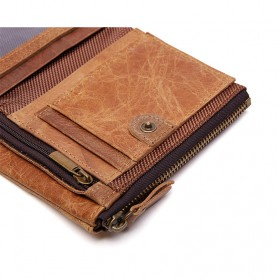 JOYIR Dompet Pria Crazy Horse Model Vintage Wallet - Brown - 4