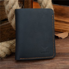 COWATHER Dompet Kulit Pria Vintage Vertical Style - Black