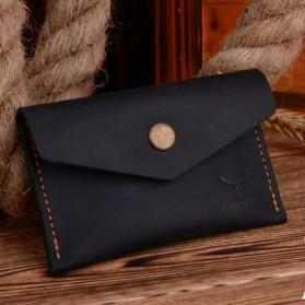 Trend Fashion Pria Terbaru - COWATHER Dompet Kartu Koin Bahan Kulit - Black
