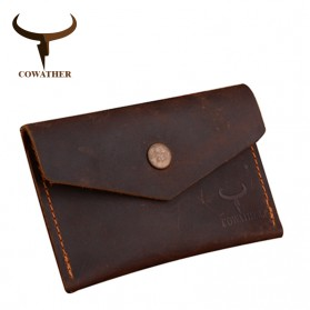 COWATHER Dompet Kartu Koin Bahan Kulit - Coffee