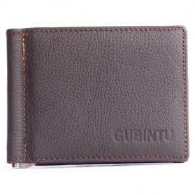 GUBINTU Dompet Pria Model Clip Wallet - BID066 - Brown