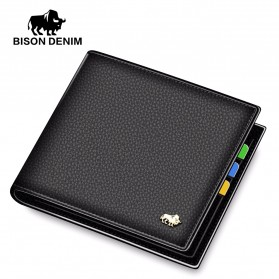 BISON DENIM Dompet Pria Bahan Kulit Short Purse - N4470 - Black