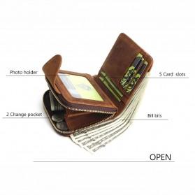 Tauren Dompet Pria Full Zipper Bahan Kulit Sapi - Brown - 8