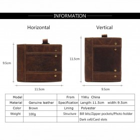Tauren Dompet Vintage Pria Model Vertikal Bahan Kulit Sapi - Brown - 3