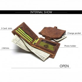 Tauren Dompet Vintage Pria Model Vertikal Bahan Kulit Sapi - Brown - 4