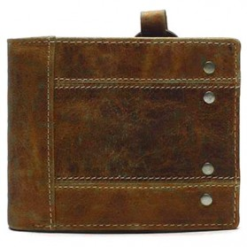 Tauren Dompet Vintage Pria Model Horizontal Bahan Kulit Sapi - Brown