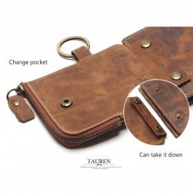 Tauren Dompet Vintage Pria Model Horizontal Bahan Kulit Sapi - Brown - 5
