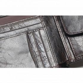 Tauren Dompet Vintage Pria Simple Elegant Bahan Kulit Sapi - Black - 4