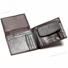Tauren Dompet Vintage Pria Simple Elegant Bahan Kulit Sapi - Black - 5