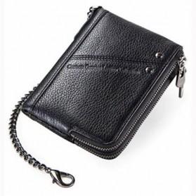 CONTACT Dompet Rantai Pria Vintage Genuine Leather Anti RFID - M1265 - Black