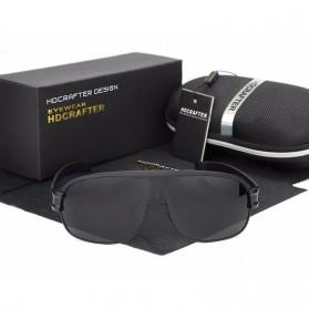 HDCRAFTER Kacamata Polarized Vintage Sunglasses - Black - 5