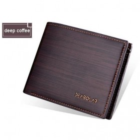 DEABOLAR Dompet Pria Bahan Kulit Strip Pattern - HF006-1 - Coffee