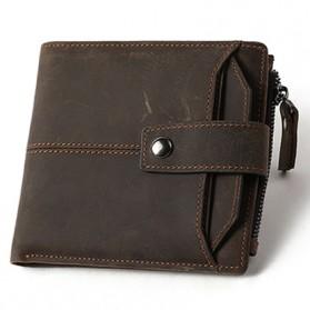 MVA Dompet Vintage Pria Anti RFID Bahan Kulit Sapi Asli - 8929 - Dark Brown