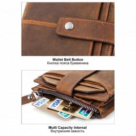 MVA Dompet Vintage Pria Anti RFID Bahan Kulit Sapi Asli - 8929 - Dark Brown - 3