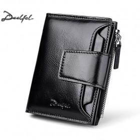 DEELFEL Dompet Pria Bahan Kulit Vintage - DE6116-1 - Black