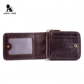 LAOSHIZI LUOSEN Dompet Pria Bahan Kulit Premium - 91605 - Black - 3