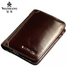 Trend Fashion Pria Terbaru - ManBang Dompet Pria Bahan Kulit - MBQ0096 - Brown