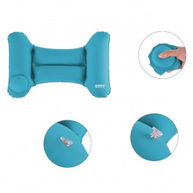 Romix Bantal Leher Mobil Travel Inflatable Car Pillow - RH35 - Blue