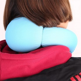 Bantal Leher Travel Ostrich Lazy Nap Pillow - V2V60 - Blue - 6